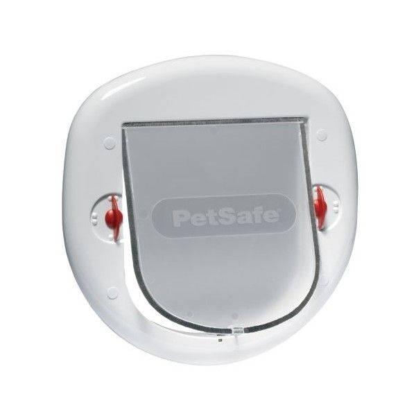 PetSafe Ușă rabatabilă pisici mari câini mici 4 opțiuni de blocare Albă