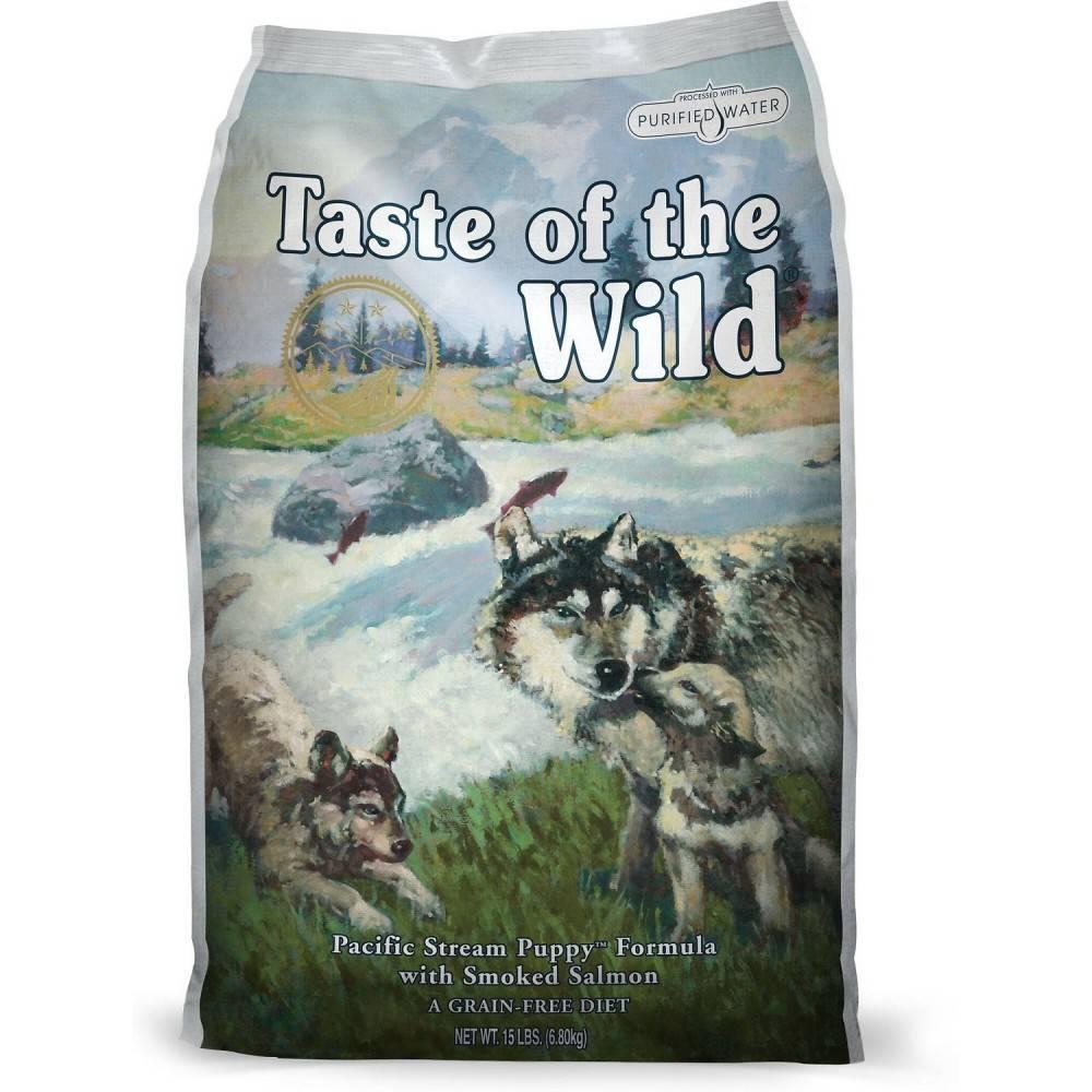 Taste of the Wild Pacific Stream Puppy® Formulă pentru Câini Juniori cu Somon Afumat 12,2kg