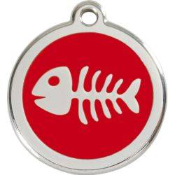 Red Dingo Enamel Tag Fish Bone