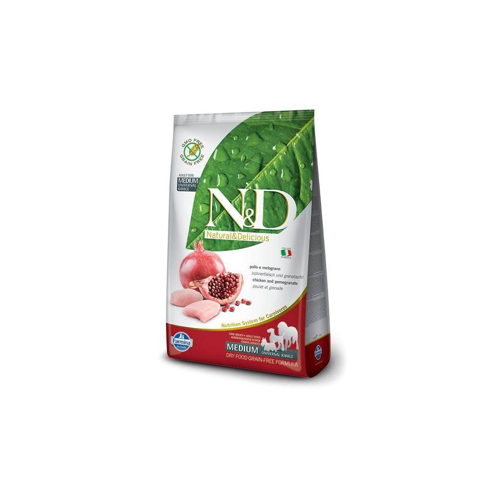 N&D Grain Free formula Canină Pui & Rodie Adult Talie Medie 2.5 Kg