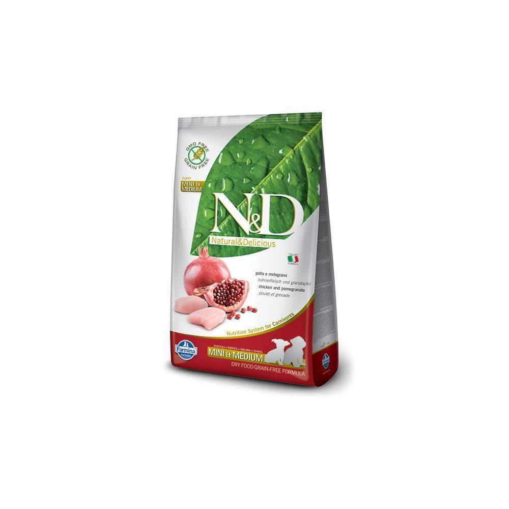 N&D Grain Free formula Canină Pui & Rodie Junior Mini & Mediu 7 Kg