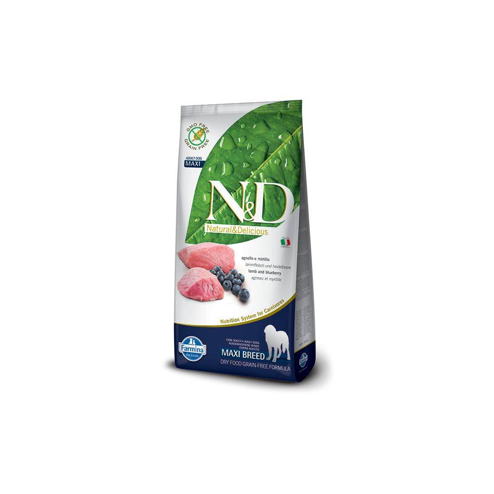 N&D Grain Free formula Canină Miel și Afine Adult Maxi 12 Kg