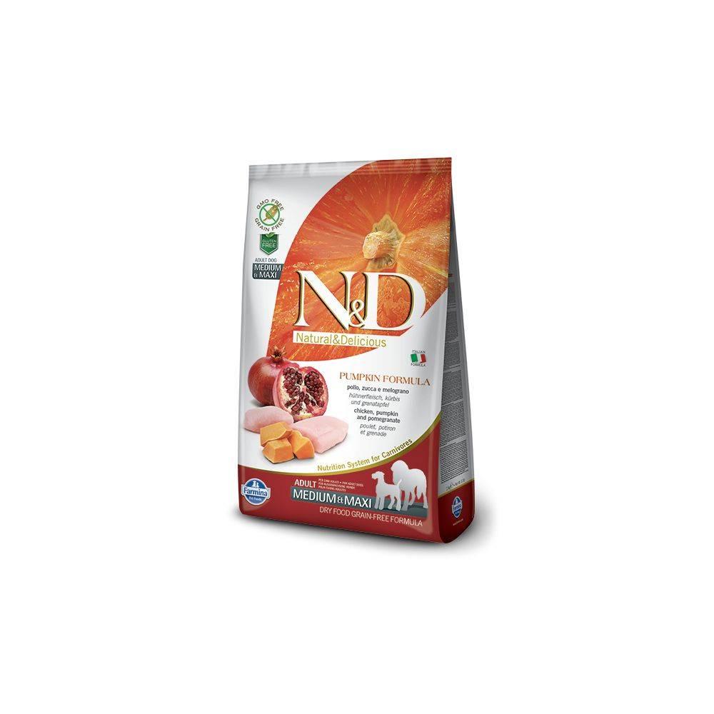 N&D Grain Free formula Canină Dovleac Pui & Rodie Adult Mediu Maxi 12 Kg