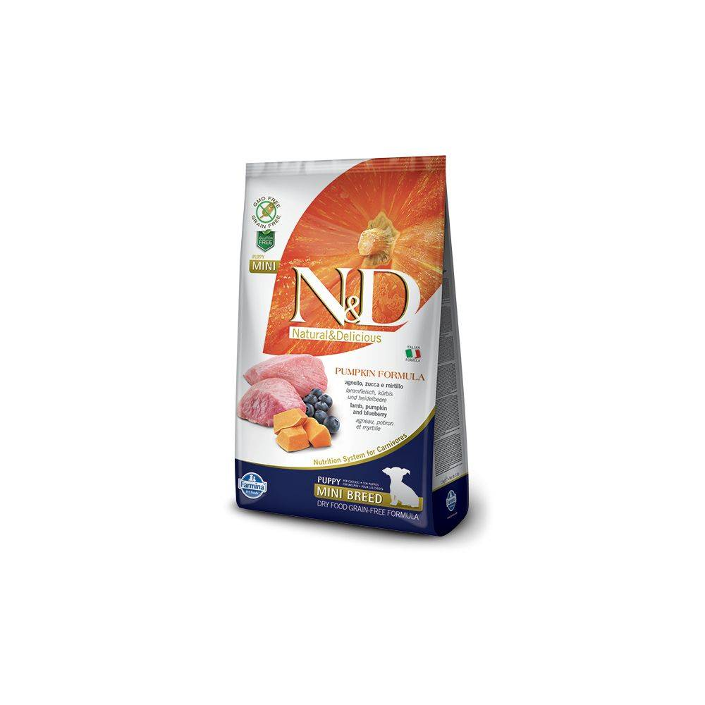 N&D Grain Free formula Canină Dovleac Miel și Afine Junior Mini 2.5 Kg