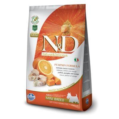 N&D Grain Free Dovleac Pește & Portocală Câine Adult Mini 2.5 Kg