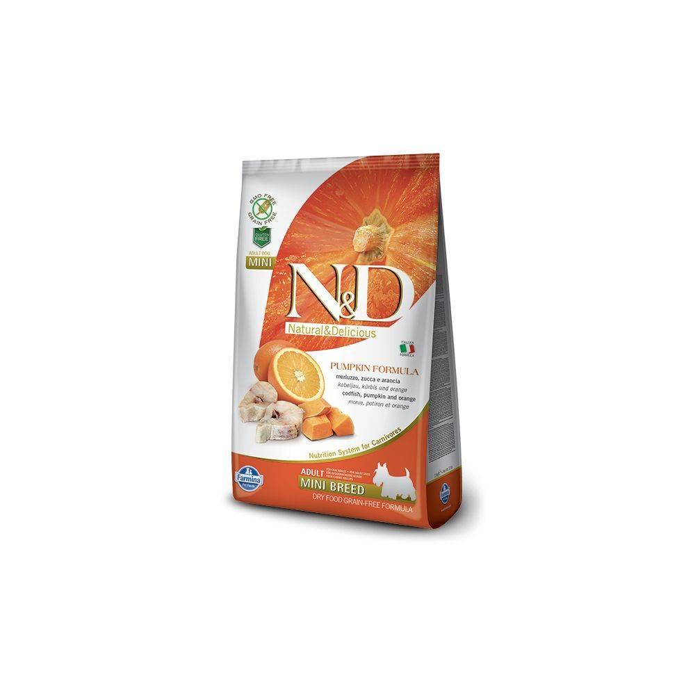 N&D Grain Free formula Canină Dovleac Cod și Portocală Adult Mini 7 Kg