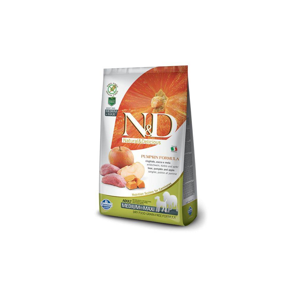 N&D Grain Free formula Canină Dovleac Mistreț și Măr Adult Mediu Maxi 12 Kg