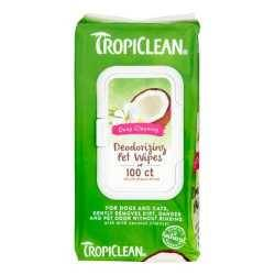 TROPICLEAN Deep Cleaning Deodorizing Bath Wipes (100buc). Cats & Dogs