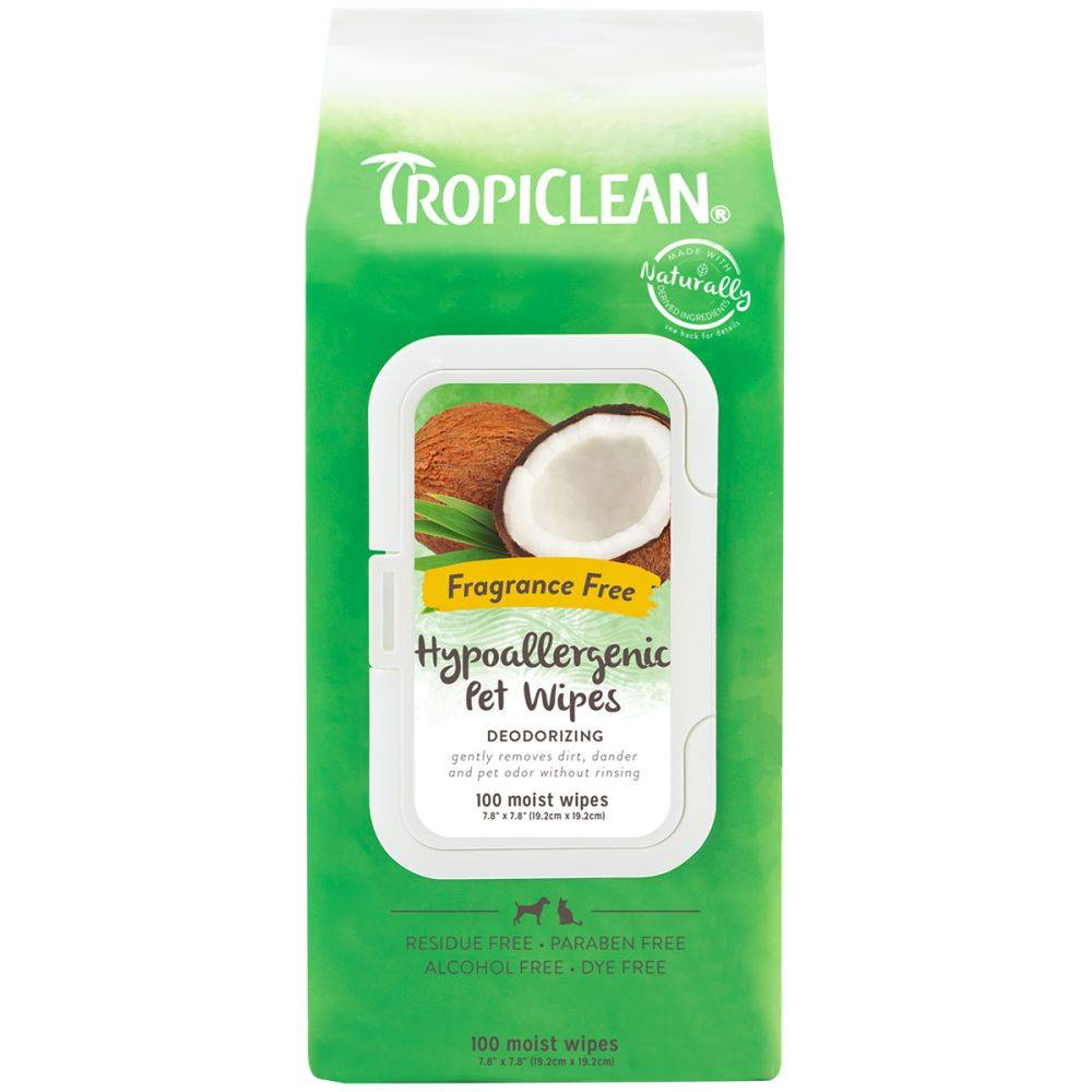 TROPICLEAN Hypoallergenic Deodorizing Bath Wipes (100buc). Cats & Dogs
