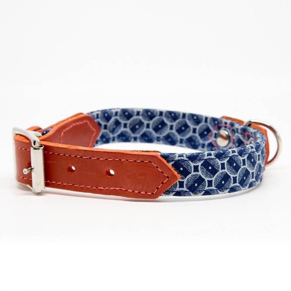 Hiro + Wolf Shweshswe Navy Circles Dog Collar