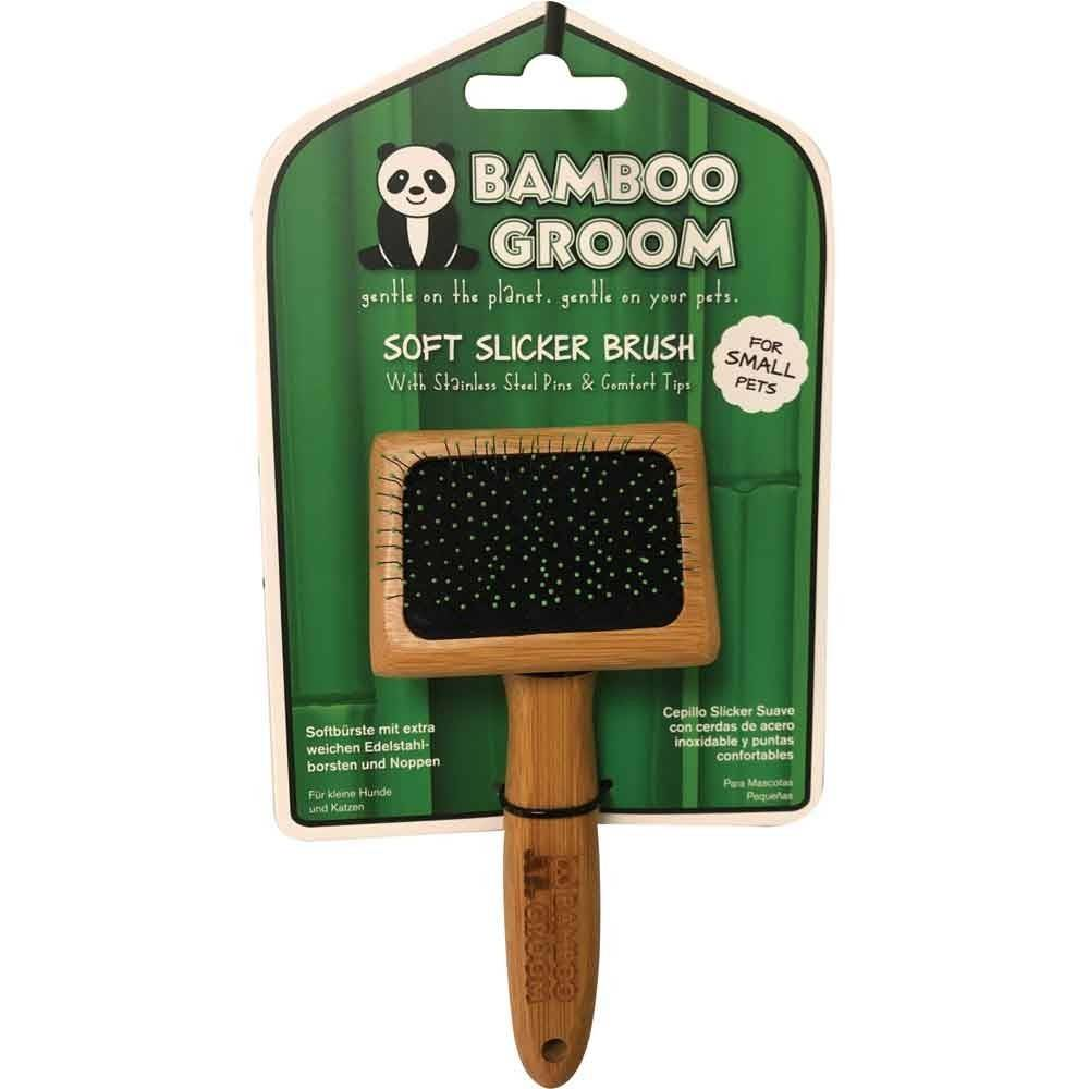 Perie Descalcire Blana pentru Caini Soft Slicker Bamboo Groom