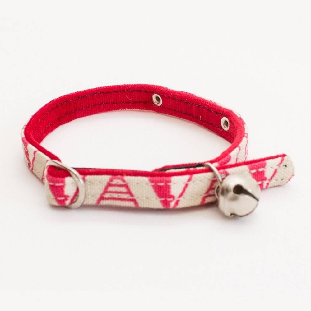 Hiro + Wolf Geo Pink Red Velveteen Cat Collar