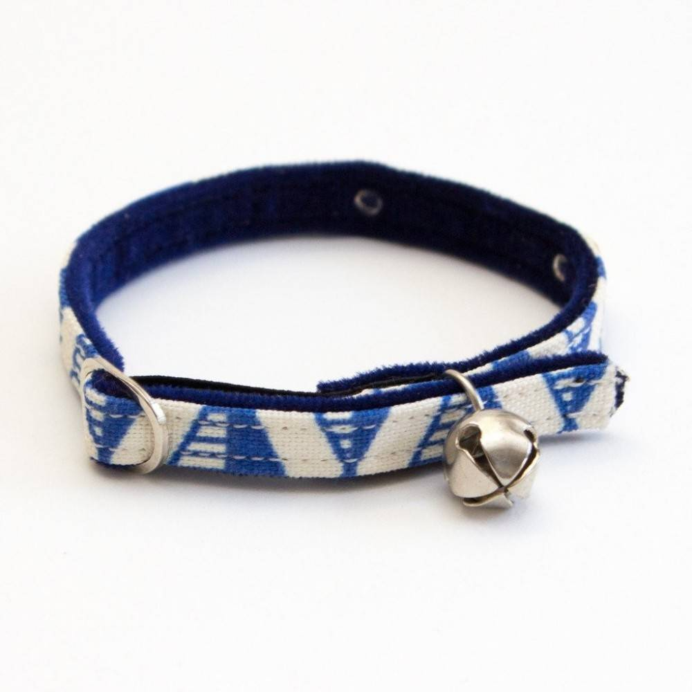 Geo Blue Dark Blue Velveteen Cat Collar